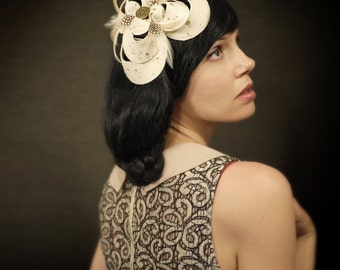 Sculptural  Cream Felt Wedding Hairpiece - Bridal Series - Made to Order