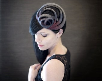Modern Ombre Purple/Magenta/Grey Felt Fascinator - Orbital Series - Made to Order