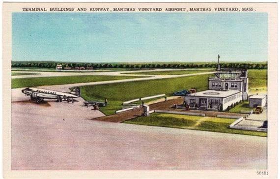 Vintage Martha's Vineyard Postcard - Martha's Vineyard Airport (Unused)