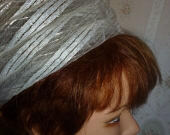 SALE Vintage White Fluff Swirled Summer Hat, Made in Switzerland