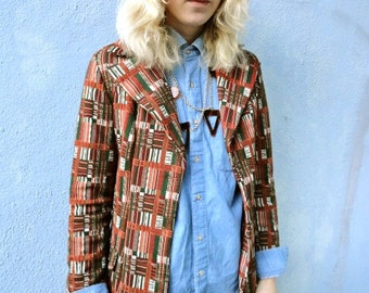 Vintage 1970's African Colors Double Knit Geometrical Pattern Double Breasted Jacket Blazer (sz 2-10)