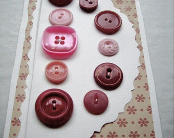 Vintage Antique Red Pink Buttons on Card for Sewing, Crafting, Fashion, Jewelry