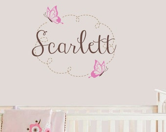Butterfly Name Wall Decal - Nursery Wall Decal - Butterfly Nursery Decor - Children Name Decal