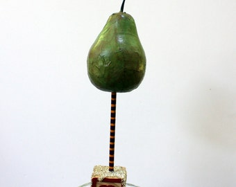 Folk Art Paper Mache Pear Fruit Sculpture