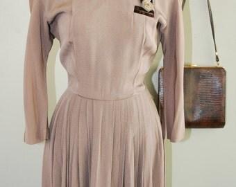 Vintage Day Dress // 1940's Dress // Pleated Skirt // Tan Dress // Velvet Embellishment // by International Junior Original // 34 Bust