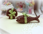 Chocolate 'Coquille St Jacques' and 'Poisson'' - French Easter Chocolates - 12th Scale Miniature Food