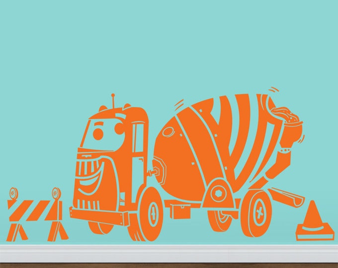 vinyl wall decal- construction equipment Spinning Cement Truck, boys room sticker art, FREE SHIPPING
