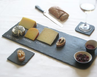 Set of XL BLACK Salvaged Slate Cheese Board + 2 B&W Porcelain Nesting Mini-Bowls—Limited Edition. Wedding Registry [Tableau Fromage noir]