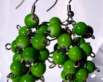 Green Grape Cluster Earrings