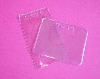 Badge Holder - Clear vinyl - laynard / reel add on - vertical or horizontal