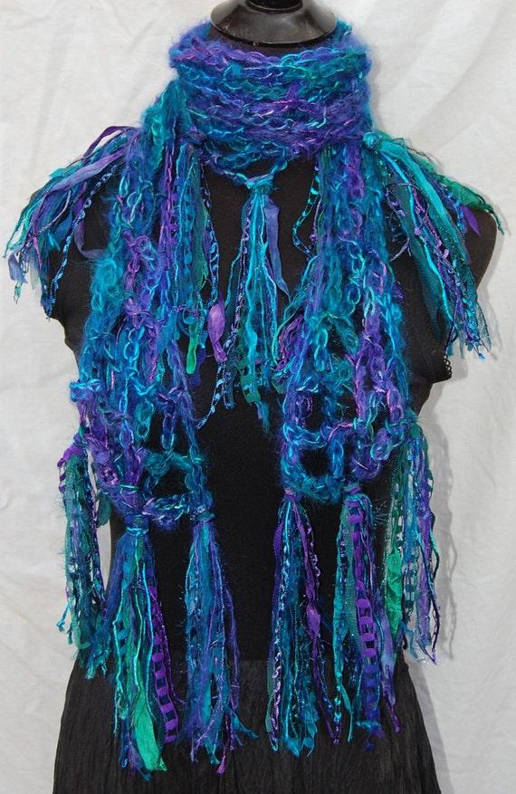 40% Off Sale Purple & Turquoise Handmade Crochet Scarf