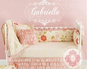 Baby Girl Name Wall Decal - Girl or Boy Baby or Teen Personalized Name Monogram Vinyl Wall Decal with Shabby Chic Accents 22h x 36w FN0517