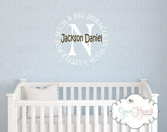 Such a Big Miracle in Such a Little Boy Wall Decal - Initial and Name Boy Monogram Vinyl Decal for Baby Nursery BA0344