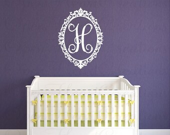 Elegant Initial Vinyl Wall Decal - Shabby Chic Wall Decal - Baby Girl Nursery Personalized Wall Decal - 28H x 22W FN0423