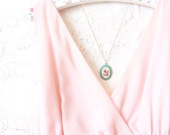 Vintage Limoges Rose Necklace - Hand Painted - Verdigris - Patina - Flower
