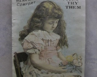 Bashful Long Haired Girl - Victorian Trade Card Die Cut - Standard Screw Fastened Shoes - 1886