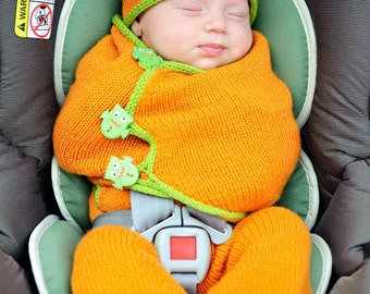 make your own SnuggleBug Car Seat Cozy (DIGITAL KNITTING PATTERN) newborn baby