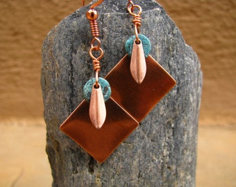 Southwest Oasis Copper Dangle and Turquoise Heishe Earrings