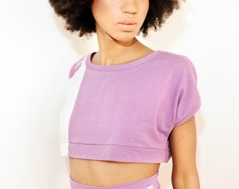 SALE % Crop top with ME print gray, lilac
