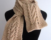 Mushroom Beige Cable and Lace Scarf, The Stef Scarf, Vegan Knits, Long Scarf, Winter Accessories, Warm Knit Scarf, Winter Scarf