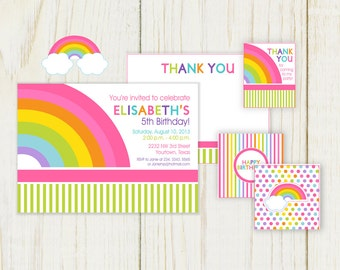 Rainbow Theme Invitation - Printable Invitation, cupcake toppers, favor tags & thank you note - DIY