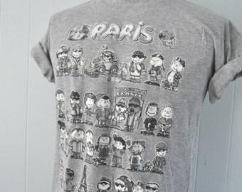 Vintage Paris France TShirt Gray Illustration Cute Kids Paint Faces Tee MEDIUM