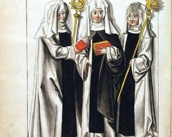 Instant Download Medieval Nuns Black White Red Yellow You Print Digital Image ATC