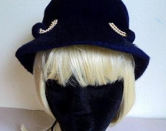 1960's Navy Blue Hat // Cloche Hat // Royal Beaver Felt Hat // SUSAN CAROL