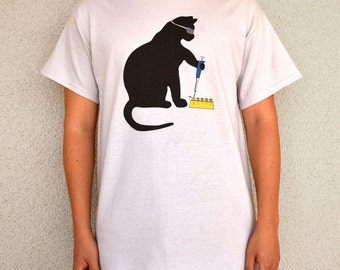 Cat Scientist - Pipetting - T-shirt, Ice Grey - Adult S-XL sizes