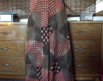 Vintage Calico Patchwork Print Boho Maxi Skirt S-M
