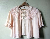 40s Bedroom Jacket // Vintage Shrug Pink Lace Ruffles // Size Medium