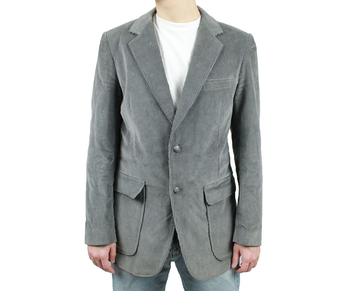 Gray Corduroy Blazer 38L 38 Long Mens Vintage Professor Jacket