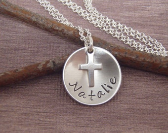 Girl's First Communion necklace - Dainty Name and tiny cross necklace - Gift for goddaughter - Photo NOT actual size
