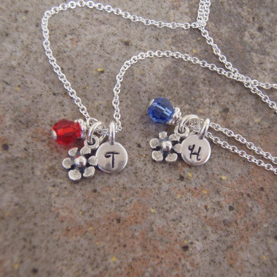 Tiny flower girl necklace - ONE Little girl's initial necklace