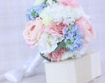 Silk Bride Bouquet Roses Peonies Hydrangeas Rustic Chic Garden Wedding (Item Number 130055)