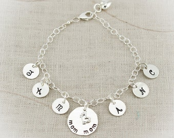 Mother or Grandmother Sterling Silver Initial Anklet Hand Stamped Personalized