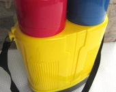 Vintage 1980s Crown Corning Double Thermos Glass Insulated Outdoor Thermique Primary Colors