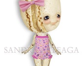 Colette - articulated Paper Doll 11 inches - macaron pastels pink paper toy summer swimming vanilla wonderland tea party ooak cookie doll