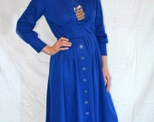 Vintage Mod 60s Royal Blue Secretary Dress