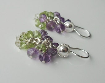 Gemstone rondelles, sterling silver, cluster earrings. Peridot, quartz, amethyst, wire wrapped.