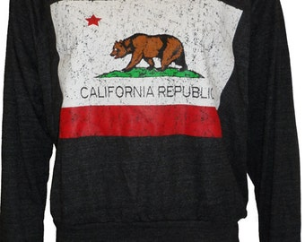 "California Republic Bear Flag Raglan Pullover ""Sweatshirt"" American Apparel S   M    or    L"