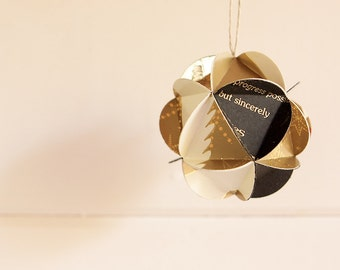 Geometric Upcycled Metallic Paper Ornament-Gold, Black, Off-White