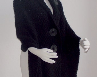 Hand Knit Shawl / Hand Knit Wrap / Hand Knit Cape Chunky Black Outerwear Plus Sizes Available