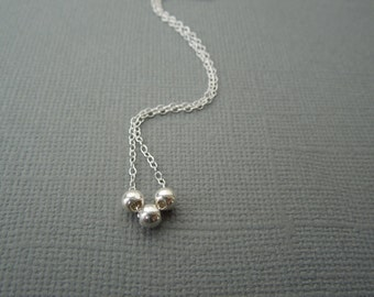 tiny silver necklace, delicate necklace, dainty silver necklace, small silver balls, three tiny balls, layering necklace, bridesmaids, N03