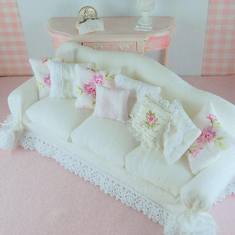 Dollhouse Shabby Chic White Wrinkle Curve Back Slipcover Sofa