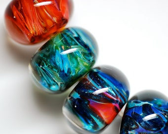 Special unique boro bead set of 4 earring pairs 8 beads in all bright colorful collection of lampwork glass beads  by paulbead made to order