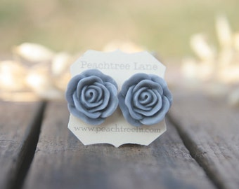 Large Grey Rose Flower Post Earrings // Bridesmaid Gifts // Maid of Honor Gifts