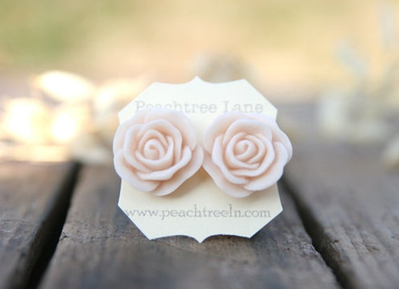 Large Pale Peach Pink Rose Flower Earrings // Bridesmaid Gifts // Outdoor Rustic Wedding // Bridal Shower Gifts