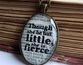 Shakespeare Necklace - Bronze Pendant - 'She Be But Little' - Gifts for Book lovers - Jewellery - Literary Gifts - Book Quotes