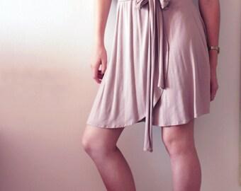 Pink / Grey Summer Dress ,Knee length Dress, Midi Jersey Dress, Long belt, Faux Wrap, 40 % Off Sale, 10 - 16 sizes